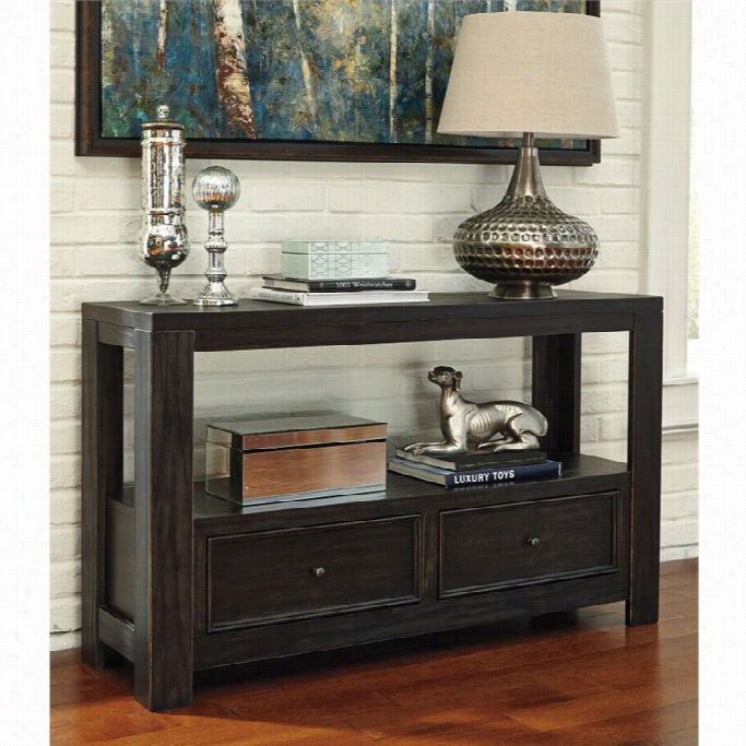 Ashley Gavelston Console Table With Pair Drawers In Rubbed Black