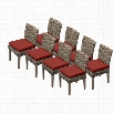TKC Cape Cod Wicker Patio Dining Chairs in Terracotta (Set of 8)
