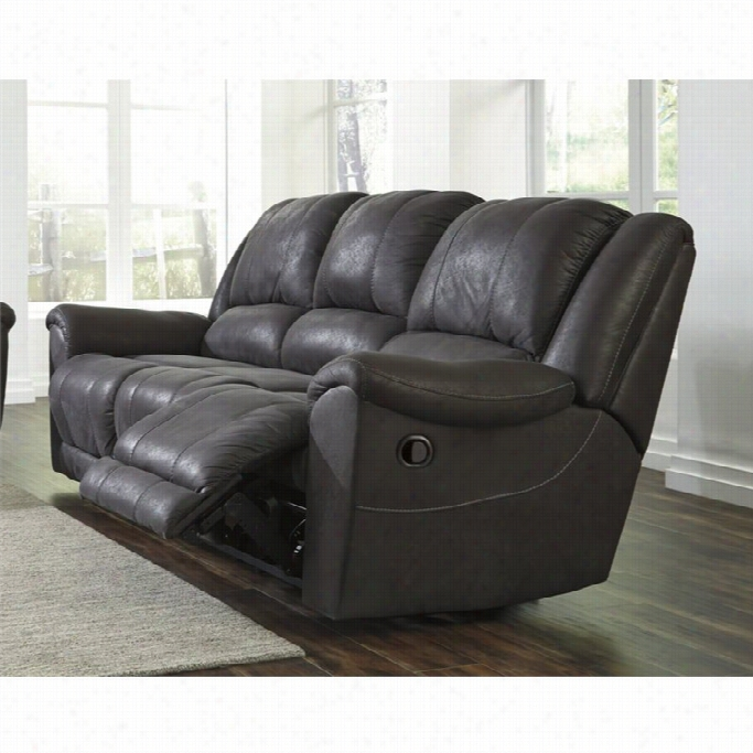 Fabulous Ashley Niarobi Faux Leather Reeclining Sofa In Gray Online Gamerscity Chair Design For Home Gamerscityorg