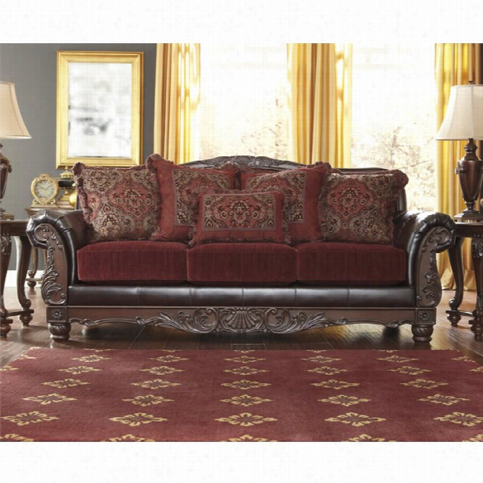 Ashley Weslynn Place Faux Leather Sofa In Burgundy @ Online ...