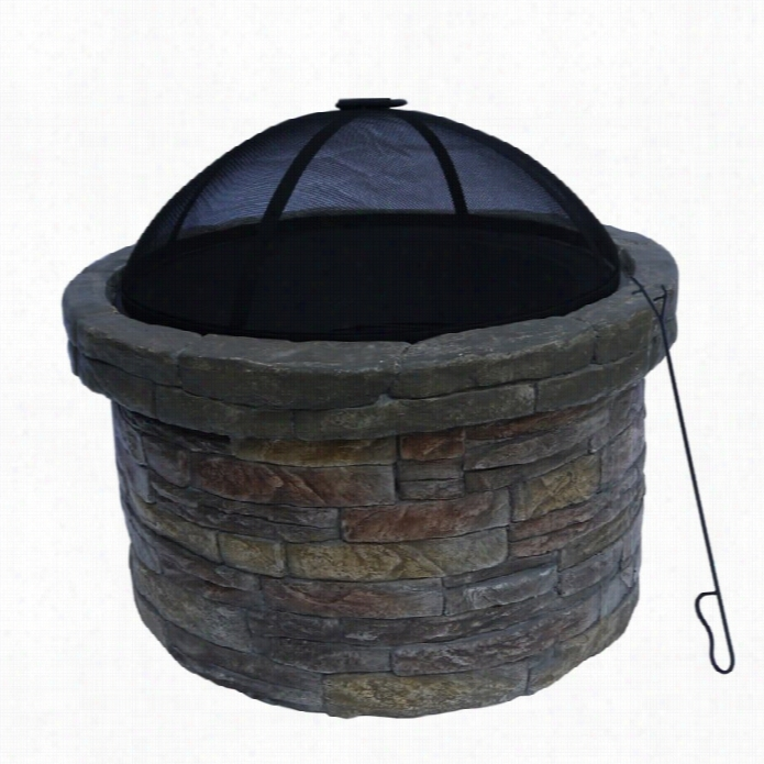 Teamsoon Peaktop Round Stone Fire Pit With Cover