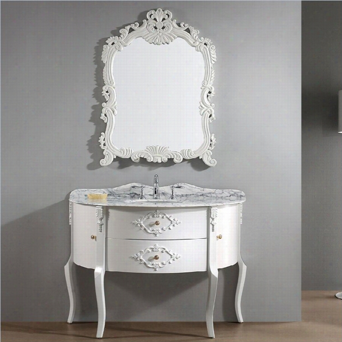 Vii Rtu Abigail 48 Marble  Single Bathroom Vanity Set In Antique White