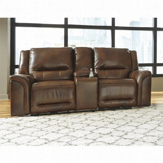 Ashley Furniture In Ct: Ashley Jayron Leather Double Reclining Solace Loveseat In
