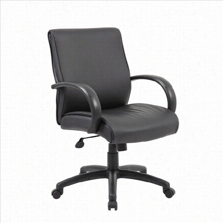 Boss Office Mid Back Executive Al Uminum Chair In Black With Knee Tilt