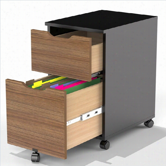 Nexera Next 3 Piefe Office Set In Black And Walnut