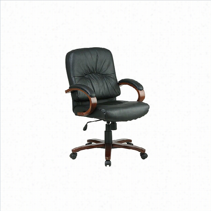 Office Star Mix Back Executive Leather Chaair With Cherry Finish Wood Bse And Arm S