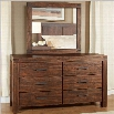 Modus Furniture Meadow Double Dresser and Mirror Set in Brick Brown