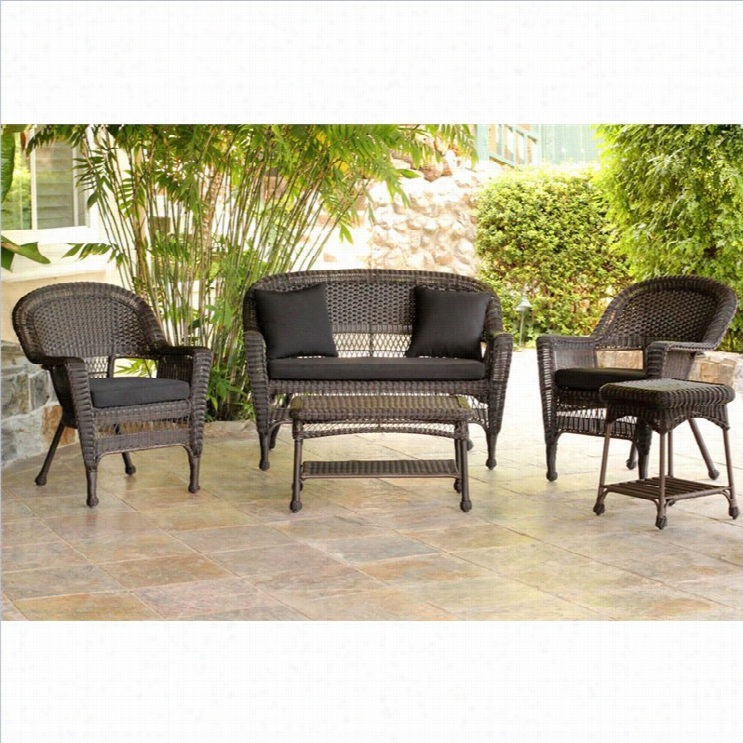 Jeco 5pc Wicker Conwersation Set In Espresso With Black Cuss Hions
