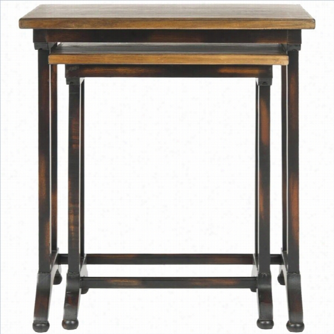 Safavieh Annie Black Oak Brown Nesting Tables In Black (fix Of 2)