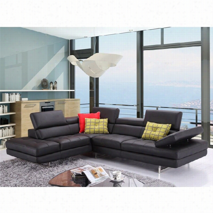 J&m Fuurniture A761 Italian Leather Left Sectional In Black