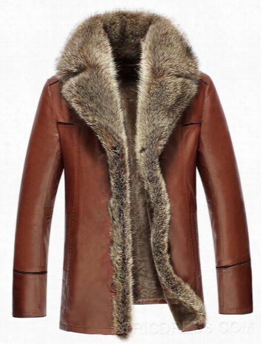 Ericdress Thicken Fur Collar Single -breasted Luxury Men's Pu Jacket