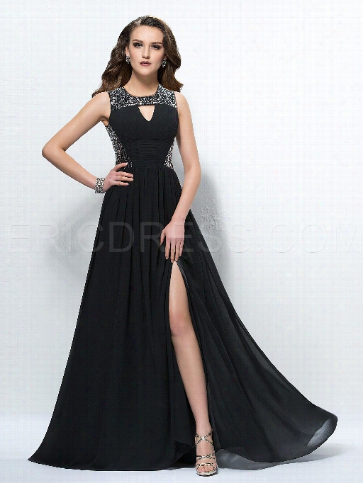Glamorous Sequins A-lie Empire Waistline Loor-length Black Evening Dress