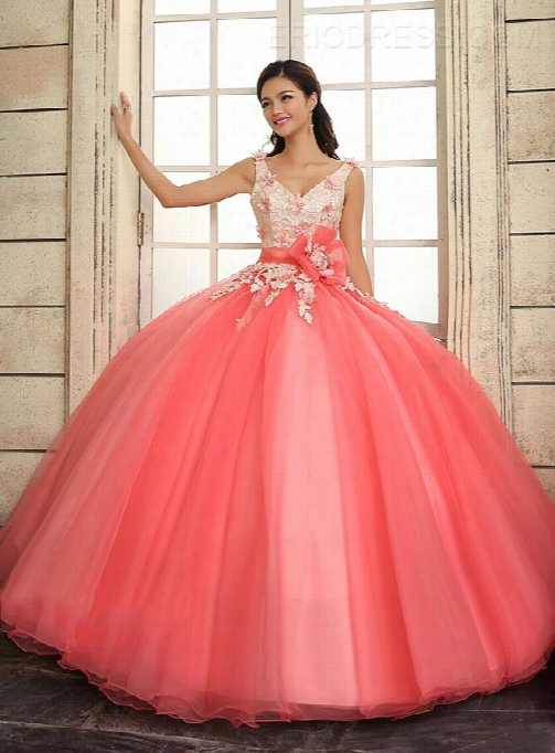 Luxurious Straps Ball Gown V-neck Flowers Lace Up Qui Ncewnera Align