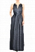 eShakti Women's Drawstring waist chambray maxi dress