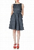 eShakti Women's Sash waist chambray dress