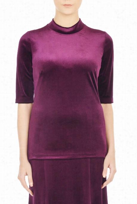 Eshakti Women's Banded Collar Soft Top