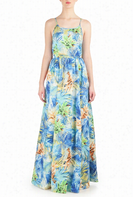 Eshakti Women's Tropical Floral Print Sateen Maxi Dress
