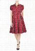 eShakti Women's Contrast collar check shirtdress