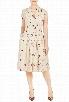 eShakti Women's Pleated polka dot floral print dress