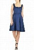 eShakti Women's Suede finish fit-and-flare dress