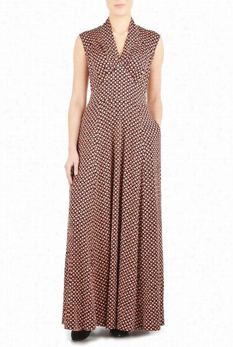 Eshakti Woemn 's Feminine Pleated Polk A Dot Knit Dress