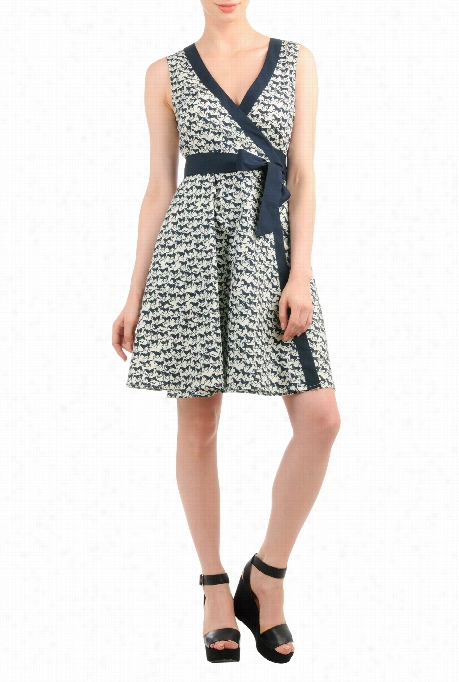 Eshakti Women's Galloping Horses Print Cotton Wrap Dres S