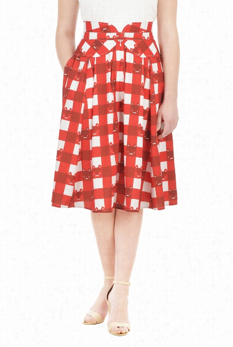 Eshakti Women's Peplum Waist Cat Print Crepe Skirt