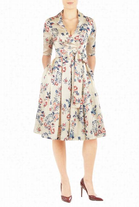 Eshakti Women's Swiss Dot Floral Print Dress