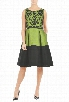 eShakti Women's Embellished dupione colorblock dress