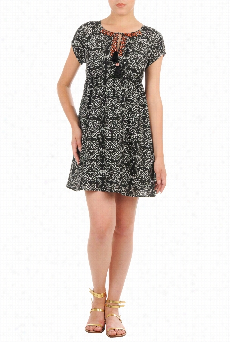 Ehsakti Wom E N's Empir Ewaist Graphic Print Crepe Dress
