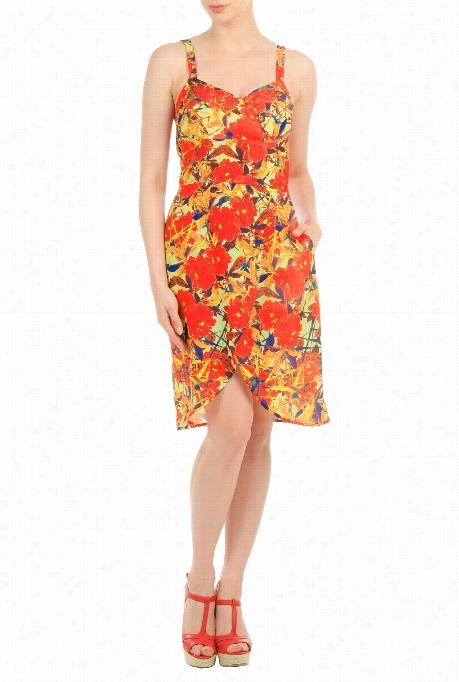 Eshakti Women's Floral Print Crepe Faux Wwrap Dress
