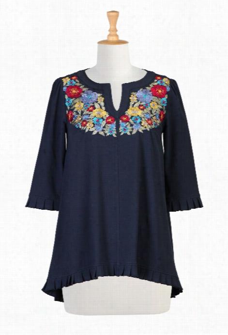 Eshakti Women's Floral Y Oke Cotton Knit Tunic