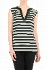 eShakti Women's Bold stripe contrast trim knit top