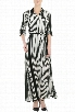 eShakti Women's Stripe georgette maxi shirtdress