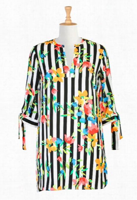 Eshakti Women's Bold Stripe Floral Rint Crepe Tunic