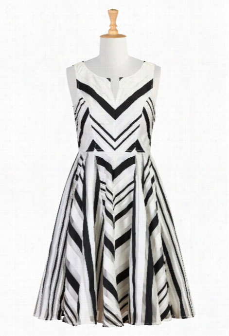 Es Haktii Women's Ribbon Stripe Organza A-line Dress