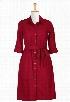 eShakti Women's Cotton poplin elastic waist shirtdress