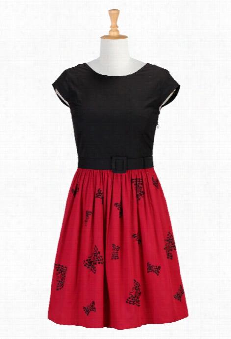 Eshwkti  Women's Butterfly Embellished Belted Poplin Dress