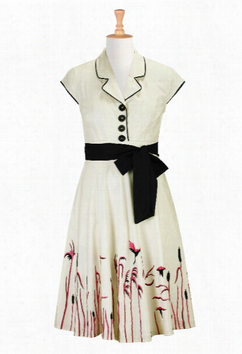 Eshakti Women's Cranes In The Reeds Embellished Dress