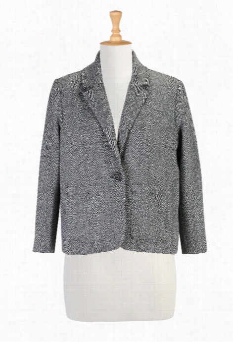 Eshakti Women's Herringbone Tweed Wooll Blend Blazer