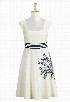 eShakti Women's Embellished palm cotton poplin dress