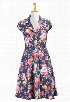 eShakti Women's Stretch denim floral print shirtdress