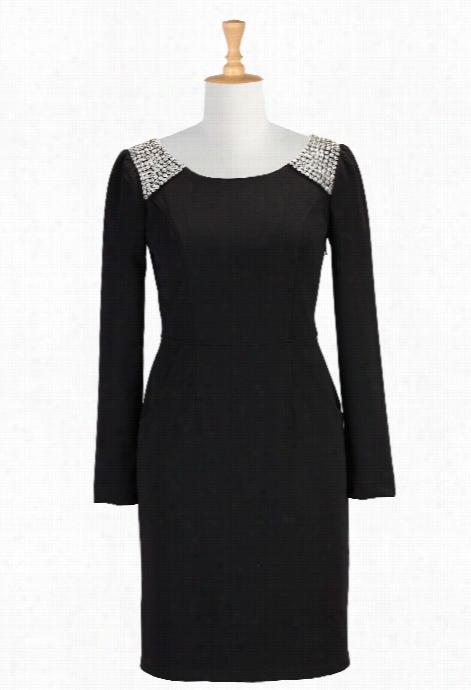 Eshakti Women's Crystal Embellished Little Black Dress
