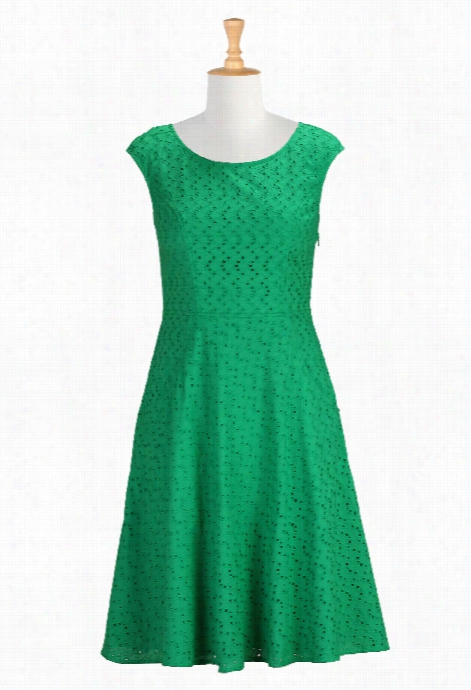 Eshakti Women's Emerald Green Eyelet Dres