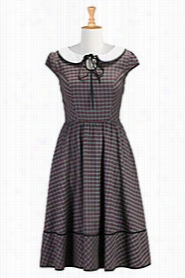 Eshakti Women's Peter Pan Collar Plair Dress