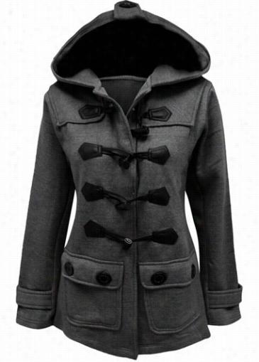 Dark Grey Pocket Embellished Long Ssleeve Coat
