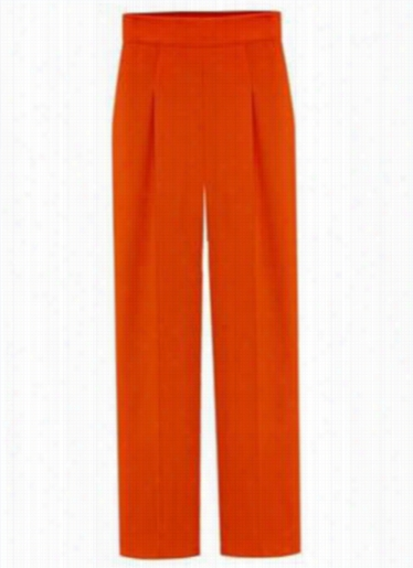 Orange High Waist Ankle Lenght Pants