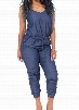 Navy Blue Drawstring Waist Strappy Jumpsuit