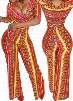 Tribal Print Belted Ankle Length Jumpsuit