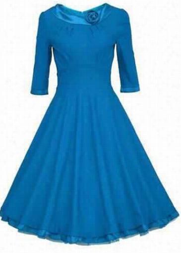 Blue Three Lodge Sleee Zipper Closure Dress